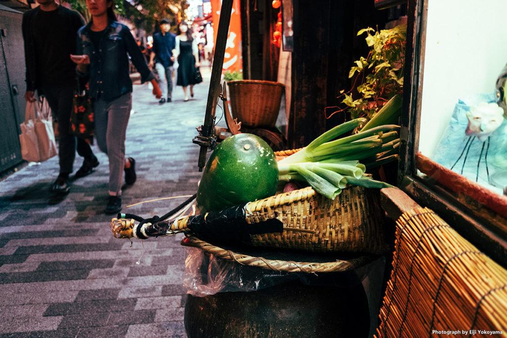 店先の野菜。
