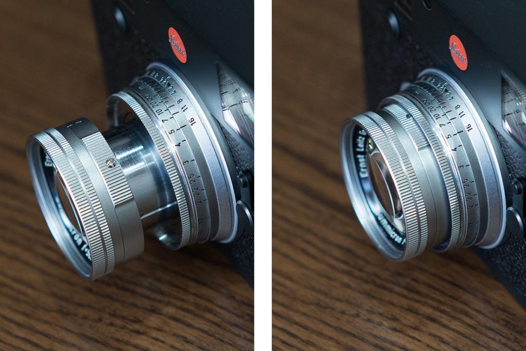 左が撮影時、右が沈胴収納時。