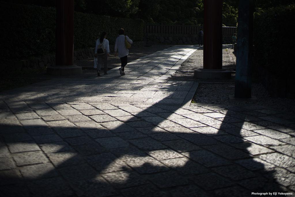 根津神社の鳥居下。陽は結構傾いています。