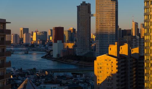 佃島界隈、夕景。α7IIで撮影。レンズは、LEICA SUMMILUX-M 50mm f/1.4 ASPH.