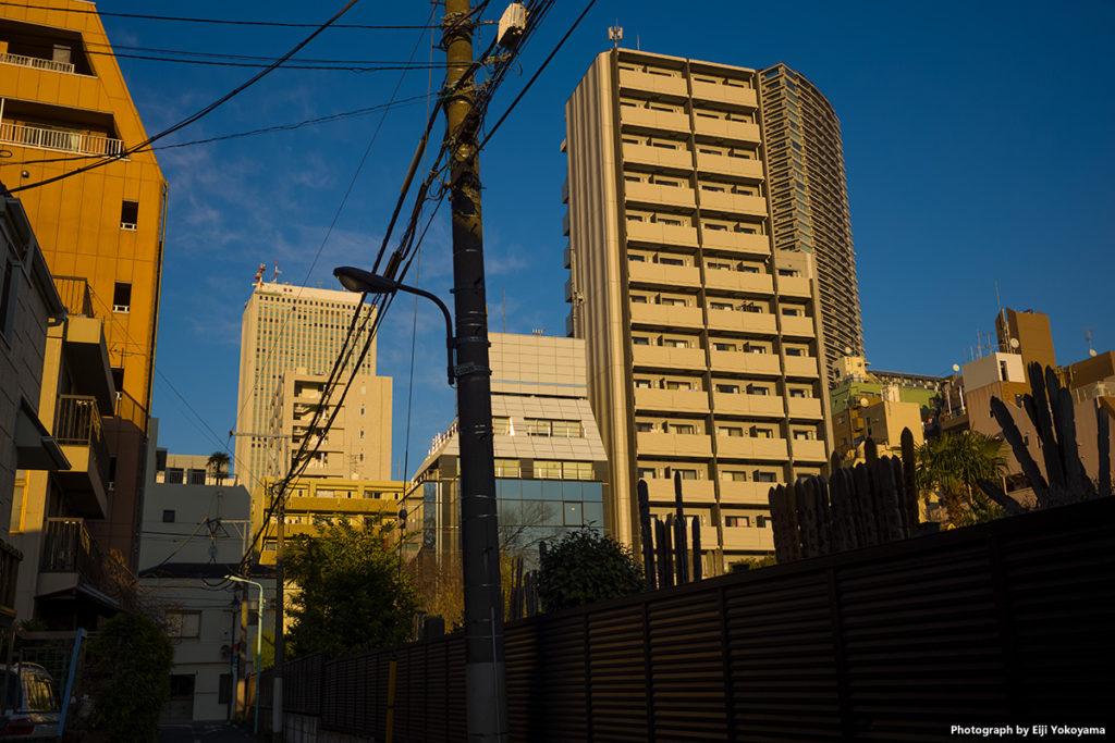 池袋。右に法明寺の墓地、奥に見える高層ビルはサンシャイン60。Leica M10 + SUMMICRON 35mm F2 7枚玉。